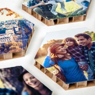 Hexafoto's op honingraatkarton